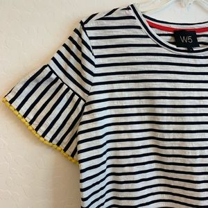 W5 Anthropologie Striped Tee With Bell Sleeves